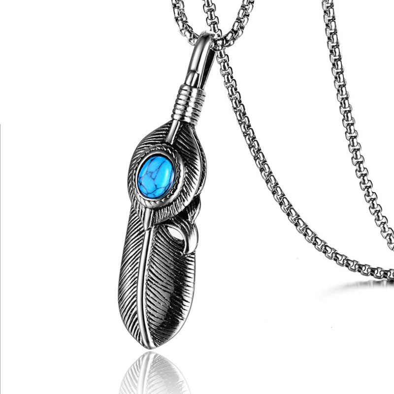 Stainless steel feather pendant Fashion new titanium steel men's feather necklace Vintage Green glass stone feather pendant