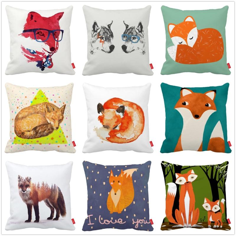 Cute Cartoon Funny Hipster Red Fox Decorative Throw Pillowcase Pillow Case Cushion Cover Sofa Home Decor