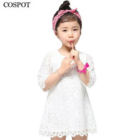 Hot Selling 2015 New Fashion Korean Kids White Girls Lace Dress Girls Princess Mini Dress Flower