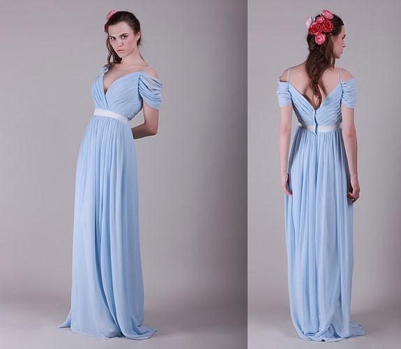 Floor-Length-Chiffon-New-Fashion-V-Neck-Short-Sleeve-Light-Blue-Bridesmaid-Dresses-Elegant-Vestido-De