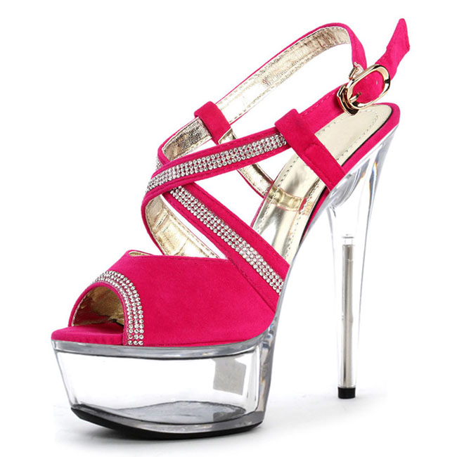 rosado Cristal Plataforma Delgados Color Rhinestone Bloque Cm Decoración De Sandalias Baile La Zapatos 15 Tacones Único Negro q6wqrPxa