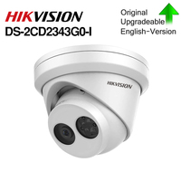 HIKVISION H.265 Camera DS 2CD2343G0 I 4MP IR Fixed Turret Network Camera MINI Dome IP Camera SD card slot Face Detect