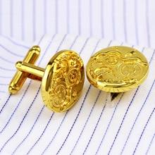 купить Bridegroom Wedding Evening Party Business Men French Shirt Cuff Links Watch Gear Cufflinks Golden Silvery Cufflink With Gift Bag дешево