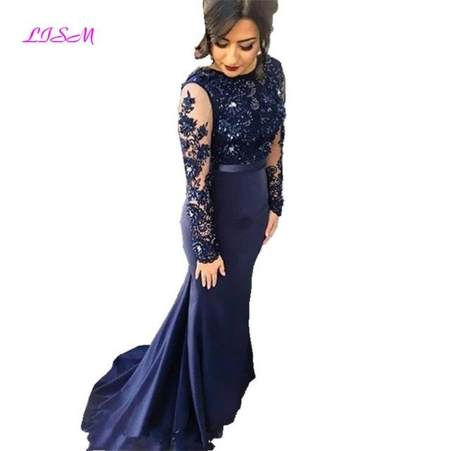 כחול כהה בת ים שושבינה שמלות לנשים O-צוואר ארוך שרוולים לטאטא רכבת פורמליות שמלות חרוזים Applique ארוך נשף שמלת 2019
