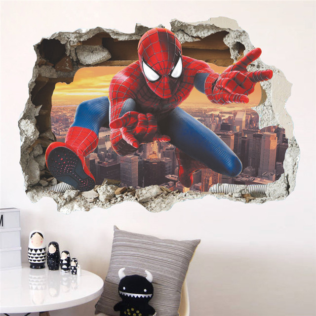 Cartoon Spiderman Broken Wall Stickers For Kids Rooms Wall Decals Home Decor Children Nursery 3D Effect Boy Gift Poster Mural