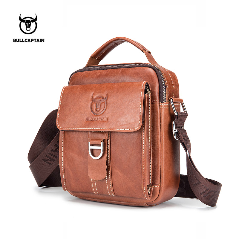 Bullcaptain Men Genuine Leather Crossboby Bag Vintage male Shoulder Bag Style Casual Men Messenger Bags Male  Flap bag packet