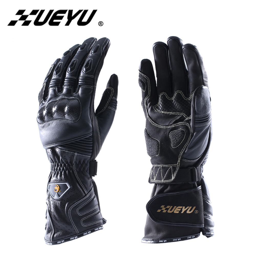 Motorcycle gloves thinsulate - Xueyu Genuine Leather Motorcycle Riding Gloves Carbon Fiber Shell Motorbike Supermoto Road Street Bike Moto Racing