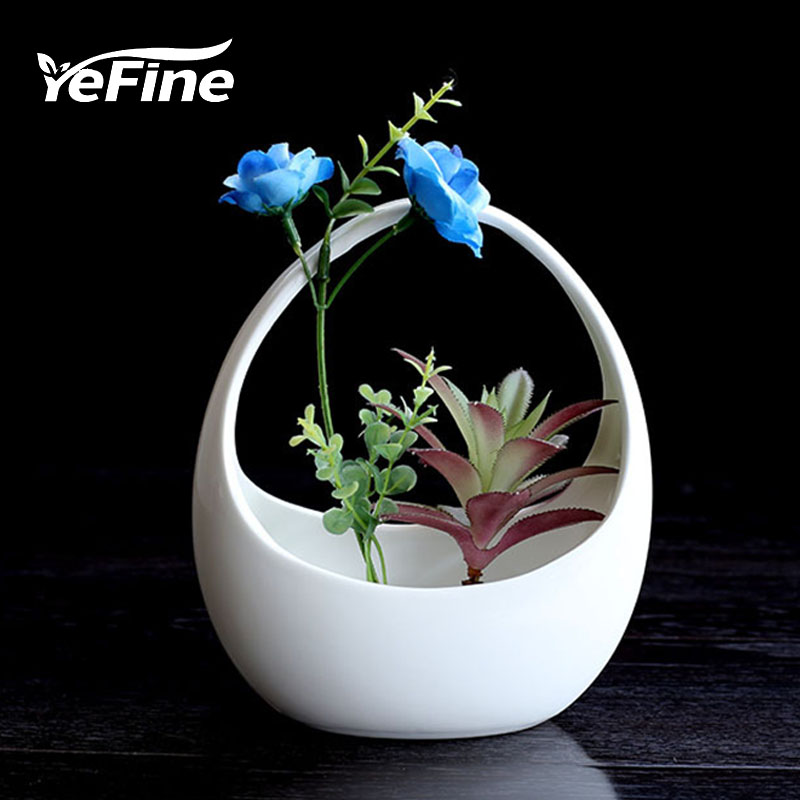 YeFine Creative Hanging Basket Flower Pot Ceramic Plant Culture Horticulture Porcelain Fleshy Flowerpot Table Decoration