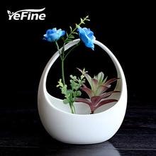 YeFine Creative Hanging Basket Flower Pot Ceramic Plant Pot Culture Horticulture Porcelain Fleshy Flowerpot Table Decoration