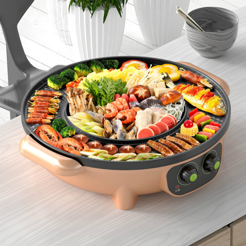 Korean Multifunction Electric Pot Barbecue Machine Electric Hot Pot Intelligent Temperature Control Non-stick Coating