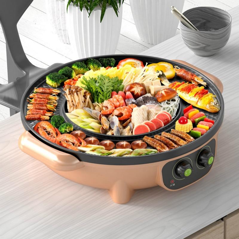 Korean Multifunction Electric Pot Barbecue Machine Electric Hot Pot Intelligent Temperature Control Non-stick Coating