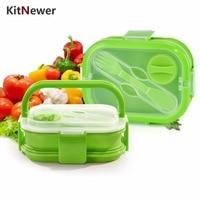 KITNEWER 2 Capas de Colores Caja de Almuerzo Bento Lunch Box Con la Manija Plegable de Silicona Portátil Caja de Almuerzo Para Los Niños
