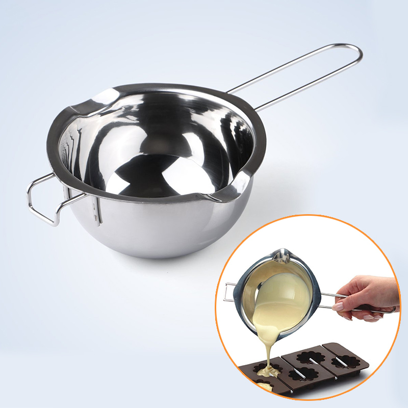 Baking Pastry Tools Stainless Steel Chocolate Butter Melting Pot Furnace Heated Milk Bowl with Handle Heated