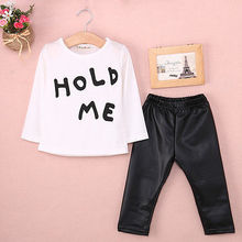 New 2016 Baby Girls Boy clothing set HOLD ME print 2pcs suits T-shirt Tops PU Leather Pants Newborn baby Clothes