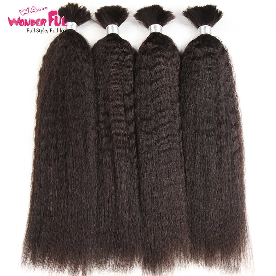 Kinky Straight Human Braiding Hair Bulk Bundle No Weft 100 Coarse Yaki Bulk Hair For Braiding