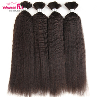 Kinky Straight Human Braiding Hair Bulk Bundle No Weft 100% Coarse Yaki Bulk Hair For Braiding 10 To 28 30 Inch Free Shipping