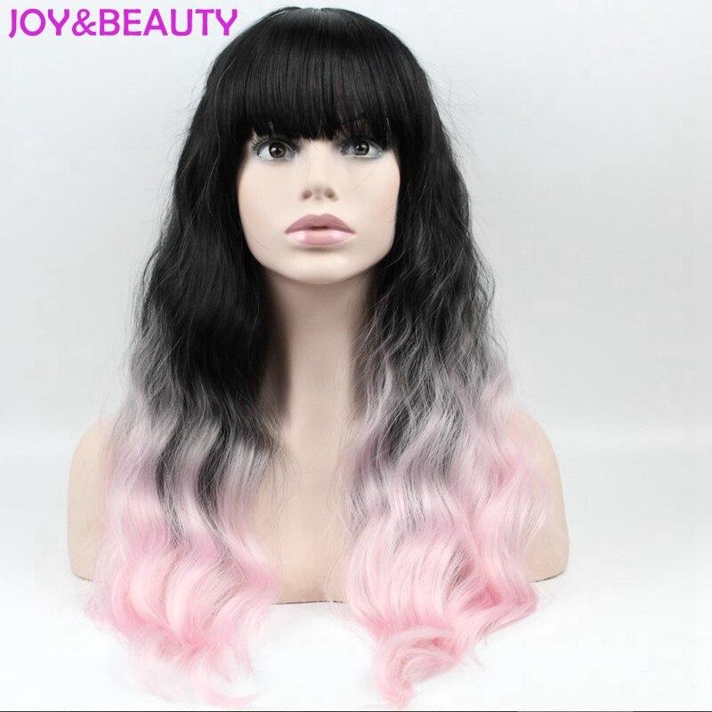 Радость и красоты волос длинный парик Curl 1B черный розовый Ombre Синтетические волосы ни Кружево парик жаропрочных волокна вьющиеся парик 24 дю... ...