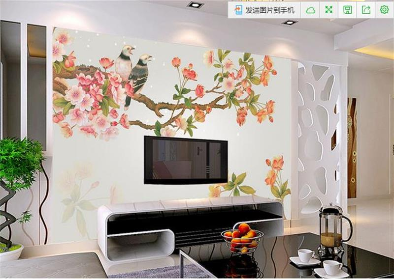 3d wallpaper custom mural non-woven photo Flower Bird peach blossom decoration painting 3d wall murals wallpaper for walls 3 d free shipping deconstruction blue bird bird personalized painting large murals mak wallpaper custom size