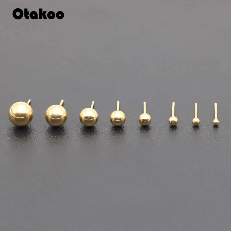 Otakoo 2PC Surgical Steel Silver,Black,Gold&Rose Gold Color Ball Stud Earrings Punk Ear Tragus Ear Piercing Fake Taper For Women