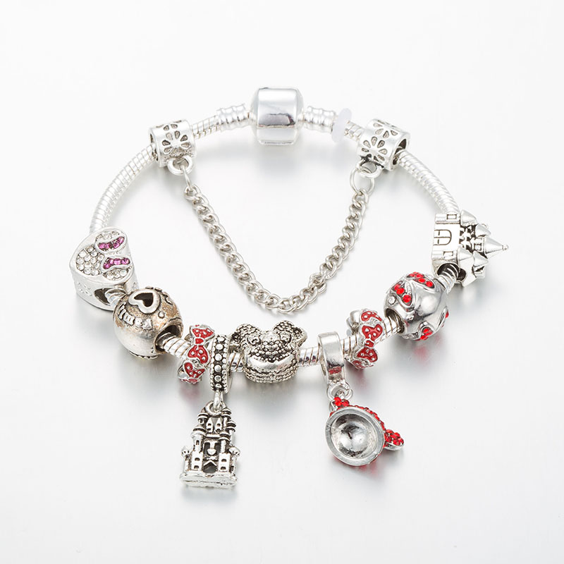 Mickey Mouse Charm Bracelet European Pendant Beads Women/&Child Jewelry New