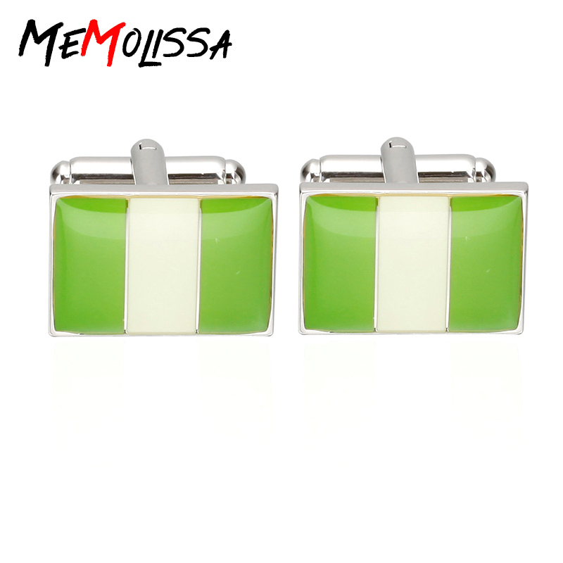 MeMolissa 2017 New Arrival Men's Cuff-Links Shirt Jewelry Enamel Trendy Square Green & White Nigeria National Flag Cuff links