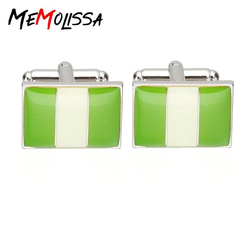 MeMolissa 2017 New Arrival Men's Cuff-Links Shirt Jewelry Enamel Trendy Square Green & White Nigeria National Flag Cuff Links