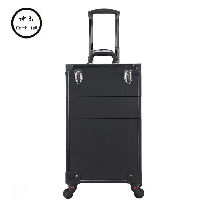 Travel trolley case Bag 2 / 3 / 4 layers Makeup Box Beauty Removable professional Suitcase New Universal Wheels Luggage Bags