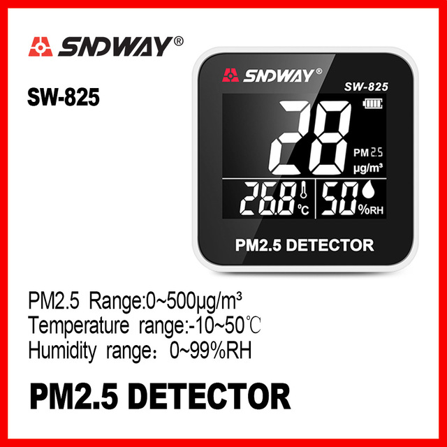 SNDWAY Digital Air Quality Monitor Gas monitor analyzer Temperature humidity meter tool PM2.5 Detector tester SW-825SNDWAY Digital Air Quality Monitor Gas monitor analyzer Temperature humidity meter tool PM2.5 Detector tester SW-825