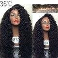 36 fábrica 200 densidad 100% del pelo humano pelucas llenas del cordón del pelo brasileño virginal rizada peluca llena del cordón sin cola con el pelo del bebé