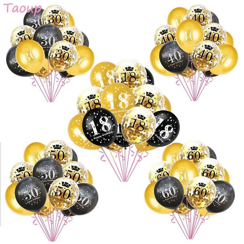 Taoup Ballons nombres joyeux anniversaire | 10 pièces, 50 60 70 40 30 18, 12 pouces, 50, 70, 40 et 40 e anniversaire, cadeaux