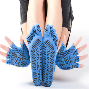 Image 4 - Najlepsze antypoślizgowe skarpetki do jogi rękawiczki damskie Grip Sticky Pilates Toe Toeless Sox bez poślizgu z wystającym palcem lepkie dno Barre Fitness wyściełane
