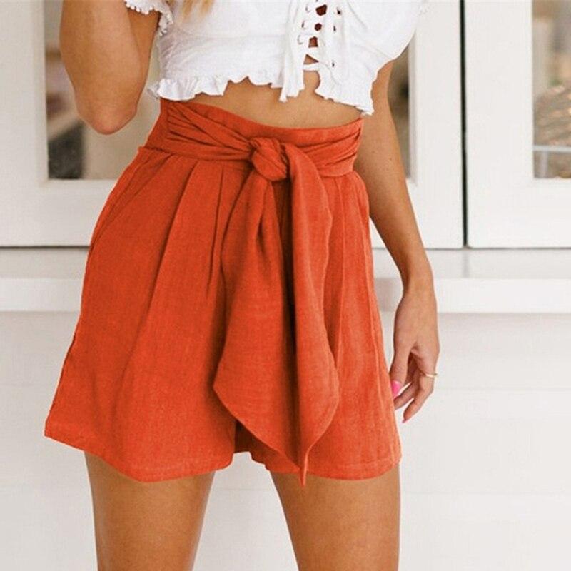 Women Loose Casual Bow Knot Shorts Hot Summer Casual Shorts Beach High Waist Short Fashion Lady Women