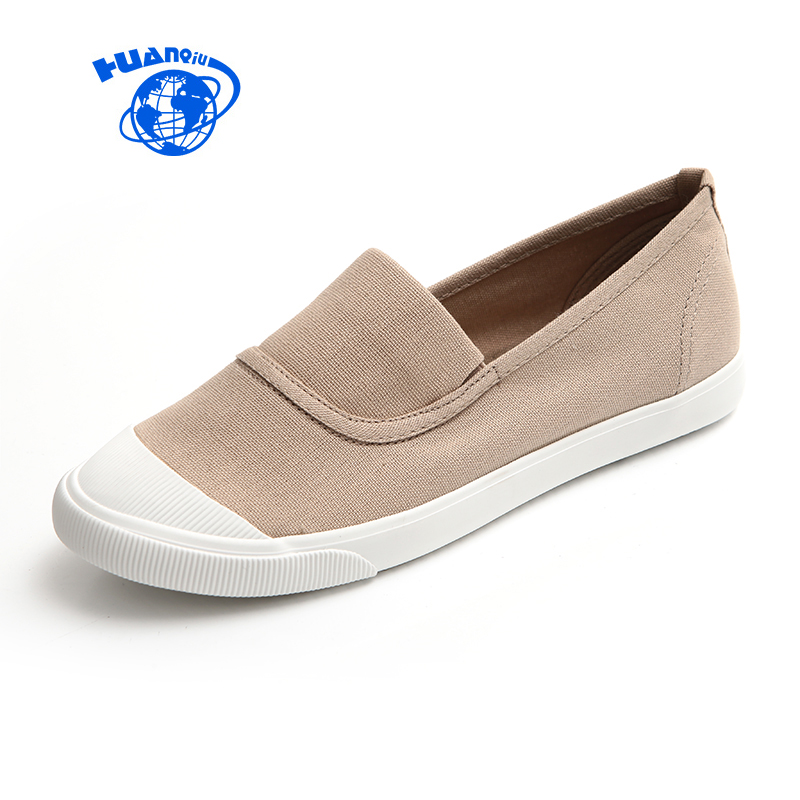 HUANQIU Spring Summer Autumn Women's Canvas Shoes Female Casual Flats Students Leisure Shoes New Woman Loafers Slip on 35-39 spring new slip on flats woman shoes summer autumn fashion casual women shoes comfortable round toe loafers shoes 7d46