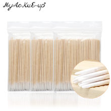 300pcs Disposable Ultra-small Cotton Swab Lint Free Micro Brushes Wood Cotton Buds Swabs Eyelash Extension Glue Removing Tools(China)