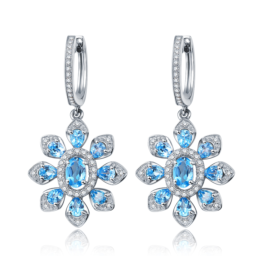 4.5ct Natural Stone Blue Topaz Sterling Silver Shining Flower Hoop Earrings silver vintage flower pattern plain round hoop earrings