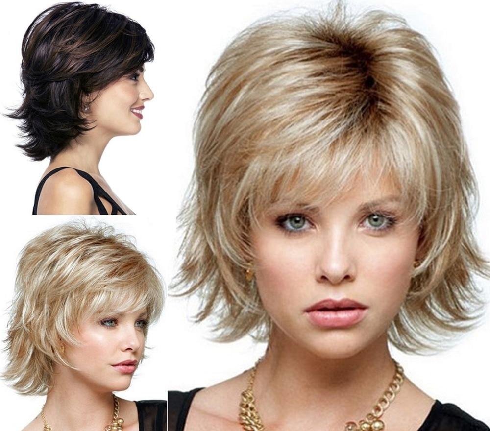 Moelleux Courte Perruque Blonde Synth Tique Boucl S Cheveux Courts
