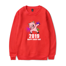 LUCKYFRIDAYF 2019 Fashion NEW Year Of The Pig trend Treat People With Kindness Hoodies Sweatshirts Pullover Winter Warm Clothes