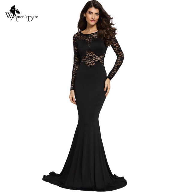 WomensDate Night Party Mermaid Maxi Dresses Elegant Sexy Black Lace Bodycon Long  Dress Formal Gown Dress Vestidos De Fiesta 87e528397003