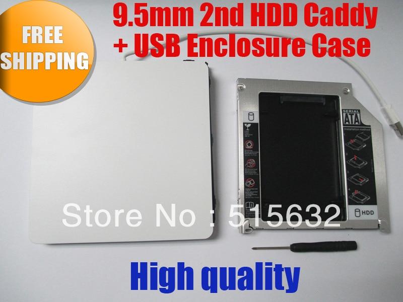 9,5 мм 2nd HDD Caddy для Macbook Pro Unibody + USB корпус Корпус для Superdrive Белый Бесплатная доставка