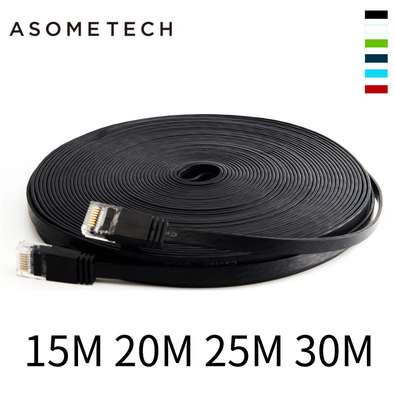0.5m 5m 15m 30m Ethernet Cables Flat LAN CAT6 cable Modem Router RJ45 gold Connector Network Internet Cable Snagless Patch cord ethernet extension cable network splitter rj45 connector 4578 to 1236 lan port jb router iptv share 1 2pc internet online