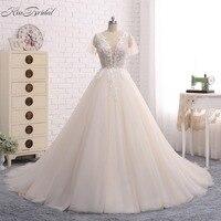 Hot Sale 2014 Vintage V Neck Beaded A Line Short Sleeve Long Formal Lace Bridal Gown