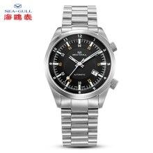 Seagull Date Reloj de pulsera para hombre, cronógrafo luminoso, doble horario, zona GMT, ST2130, movimiento automático, esfera negra, 816.582