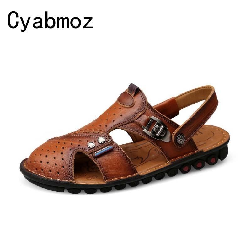 Cyabmoz Closed Toe Men Beach Sandals Luxury Handmade Genuine Leather Slipper Shoes For Men Outdoor Walking