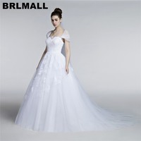 BRLMALL robe de mariee 2017 White Cap Short sleeves Lace Appliques Wedding Dresses Bridal Gown Court Train Puffy Ball Gown