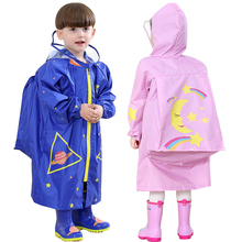 Children Raincoat Waterproof Fashionable Cartoon with Schoolbag-Space M/L Polyester Kids