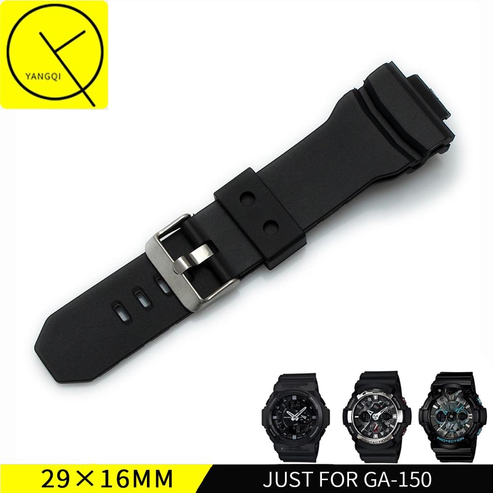 5420889b6a983 16x29mm Nature Souple En Caoutchouc de Silicone Bracelet pour Casio G SHOCK  Série GA 150 Noir GA 200 201 300 310 GLX 5255 3295 5229 + Outils dans  Bracelets ...