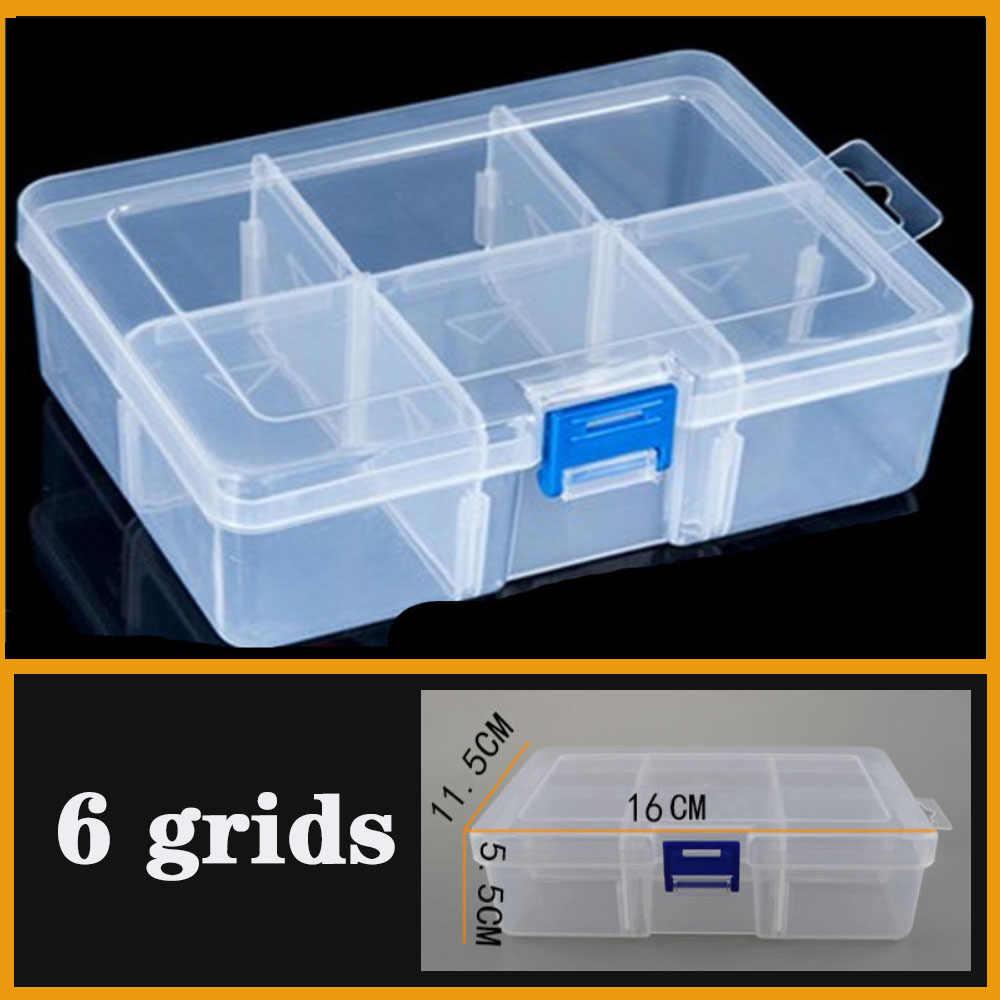 Многожильные пластиковые отсоединяемые ящики для хранения инструментов, ювелирных изделий и рыболовных снастей, винтовой Настольный органайзер, большая 6 сеток, пластиковая коробка