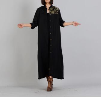 Free Shipping Top quality Loose Big size Women spring Cotton Linen dress , Plus size Women female cloths np15