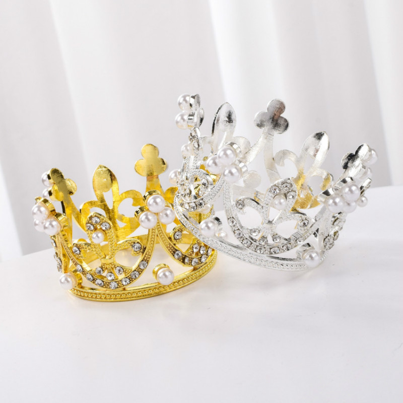 Newborn Photography Props Gold Silver Baby Girl Princess Crown Cartoon Hat Imitation Infant Props Birthday Party Accessories