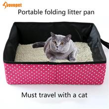 VOVOPET Foldable Pet Cat Litter Box Outdoor Travel Portable Waterproof Oxford Puppy Kitten Toilet Training Bedpans
